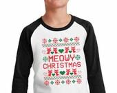 Meowy Christmas Kitty Cat Lover Pet Owner Gift Merry Christmas Kids Christmas Tee Holiday Santa Gift - Baseball raglan Elf Xmas