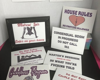 Kinky Canvas Door Sign- Fun Fetish Sexy Signs for Playroom, Dungeon, Bedroom Dom Femdom DDLG Swinger Cuckold Roleplay masturbation Mistress