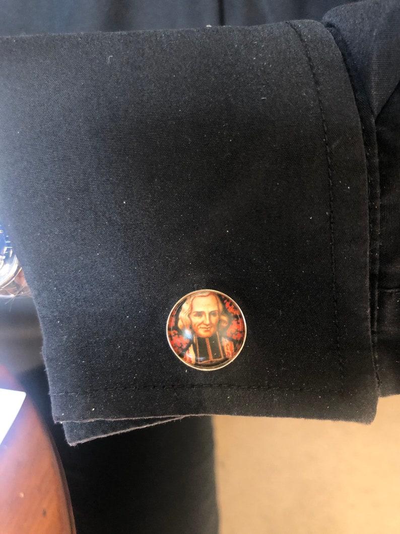 custom personalised Saints Cuff links Priest cuff links