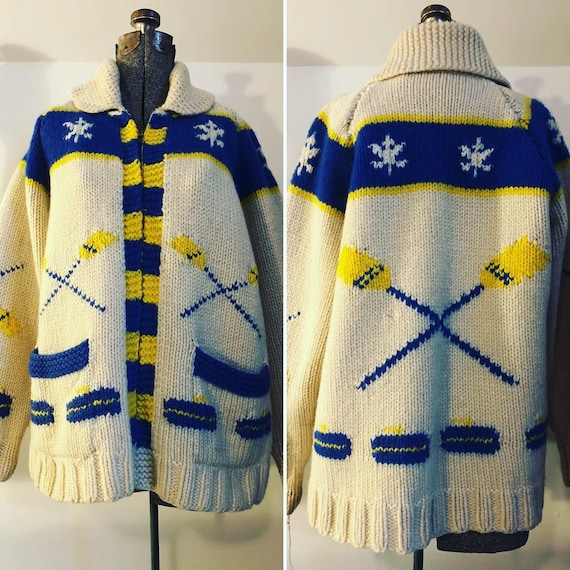1950s Rowing Hand knit Cardigan Zip Front Sweater