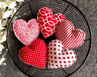 set of 5 flowers red//white Primitive  Valentine Heart bowl fillers