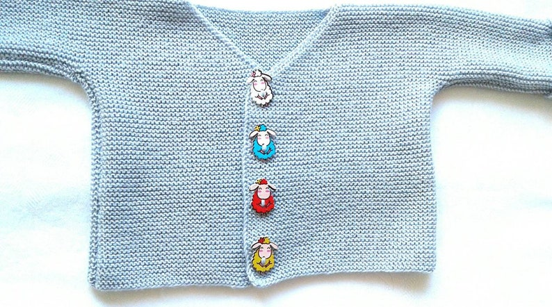 Cardigan for children in size 8086 in cotton in light greyblue