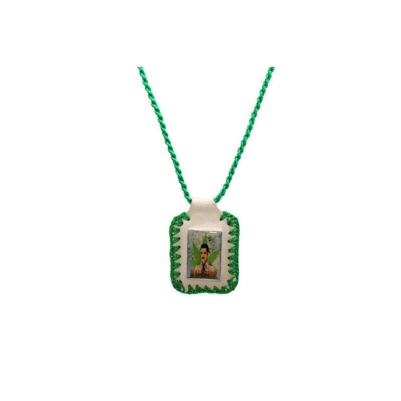 Jesus Malverde Necklace Scapular Green and White Leather Rope Escapulario