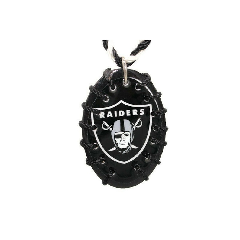 Las Vegas Raiders Necklace Oval Wood Pendant Rope Hand Made NEW