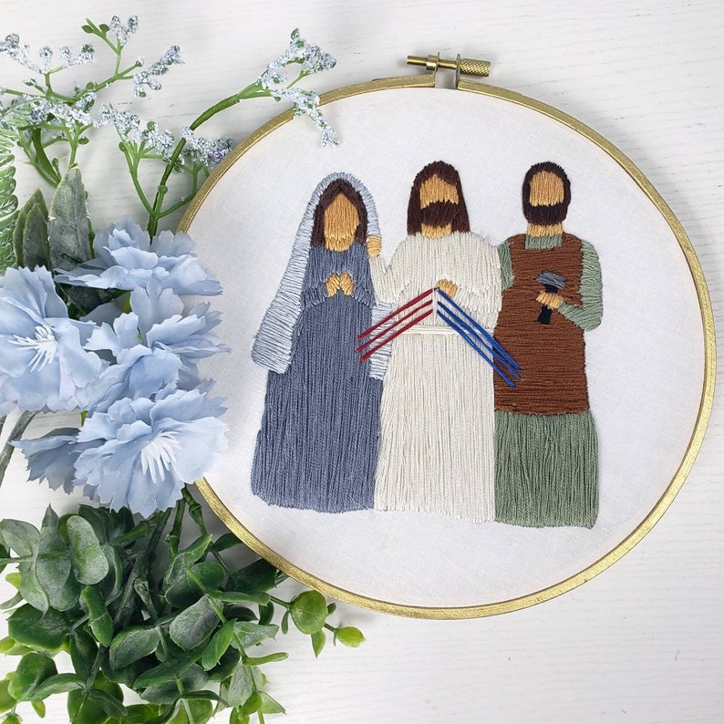 Jesus Mary Joseph hand embroidery image 0