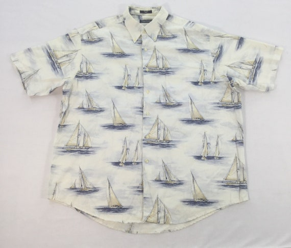 NAUTICA SAILING BOAT Graphic Shirt Xxl Size Art Fu