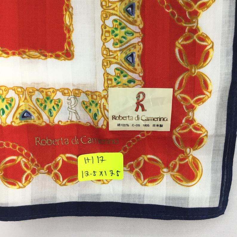 Vintage ROBERTA DI CAMERO Handkerchief Face Mask Bandana Scarf Designer Streetwear Pocket Square