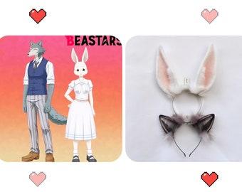 "7.5""/3.5"" His-and-hers Ear,Couples Cosplay Beastars Ear,Grey Wolf Ray Gussie&Rabbit/Bunny spring Ears Headband,Couples Anime Ear,Lovers' Ear"