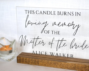 Mother of the Bride | Memorial Sign | Candle Memorial Sign | Wedding Memorial Sign | Personalized Wedding Sign