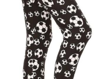 Soccer Leggings for Women and Teen Girls Gift for Soccer Fans Sports Leggings