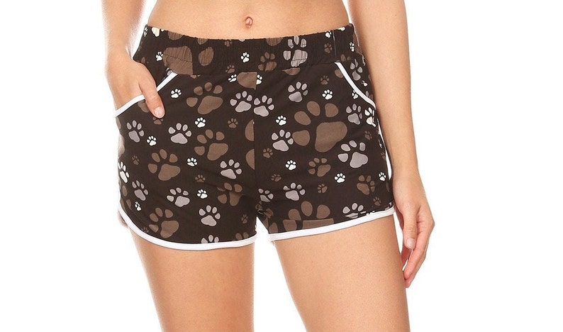 Paw Print Mid Rise Relaxed Fit Shorts with Pockets  S,M,L,XL NEW ITEM