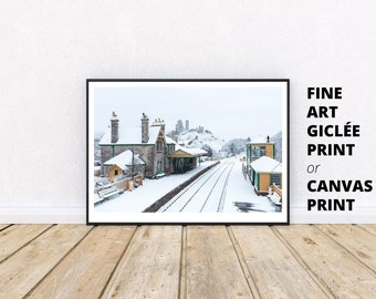 Choice of sizes Poster Print Corfe Castle in the Snow on a misty morning Dorset Photograph Canvas Print