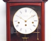Perfect Vintage Musical Dual Chime Westminster Chiming Wall Clock 8-Day Mahogany Case