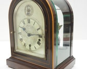 Mahogany Bevelled Glass W H Mantel Clock Dual Chiming Musical Bracket Clock Chiming on 8 Coiled Gongs