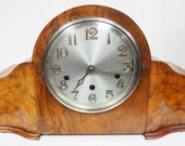 Antique English Hat Shaped Mantel Clock Burr Walnut Dual Chiming Westminster Mantel Clock by Haller
