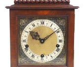 Vintage English Westminster Chime Bracket Clock Solid Mahogany Musical Mantel Clock