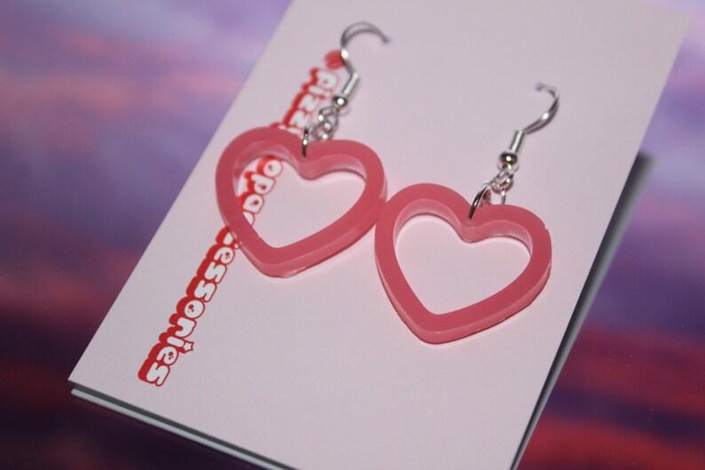 Pink Heart Silhouette Earrings