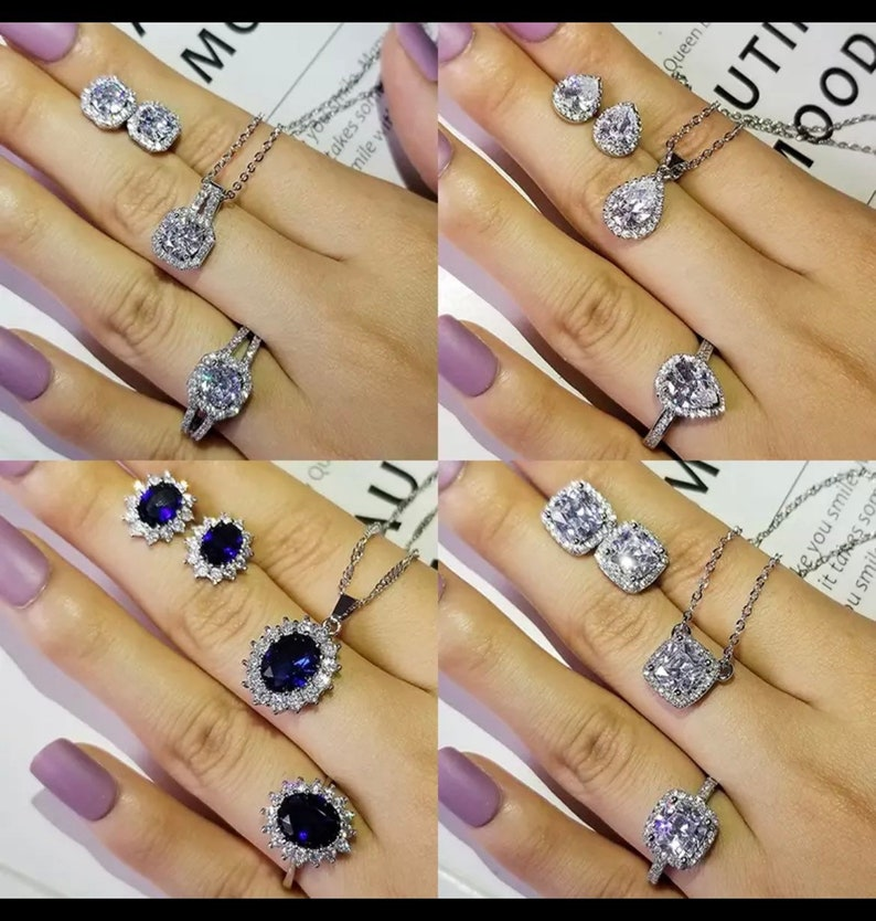 3 Piece Jewelry Set2021 Luxury Crystal Stone925 Sterling silver for women ClassicTrendyGift jewelry