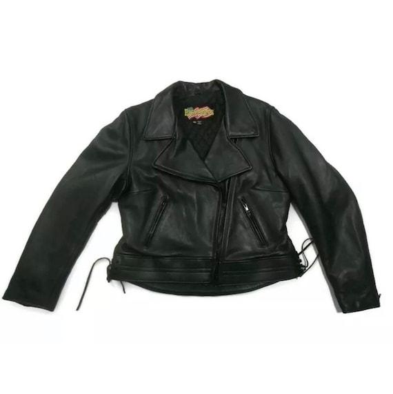 Vintage 70's Biker Jacket Leather Jacket Size Larg