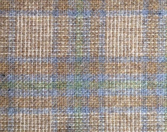 """Vintage wool plaid fabric,48"""" brown beige blue green woven plaid fabric,kilt making,apparel,hat making,vests,throws,pillow covers,shawls"""