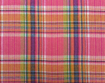 1 yard soft pink and orange plaid wool and polyester fabric,twill plaid medium weight fabric for crafting,apparel,throws,pillows,kids crafts