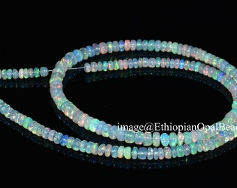 Multi-Color Ethiopian Opal Smooth Rondelle Gemstone Beads 18inches 4mm 4.5mm