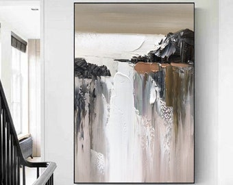 Large Abstract Oil Painting, Minimalist Abstract Painting, Beige Painting,Textured original abstract painting,Minimalist Art, Wall Art Decor