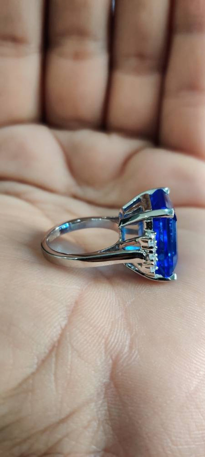 6 Carat Emerald Cut Aquamarine Engagement Ring In Solid 925 Sterling Silver Anniversary Gifts Ring Blue Sapphire Ring Solitaire Ring