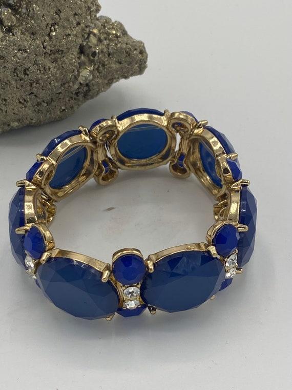 Miriam Haskell Blue-Faceted Crystal Bracelet