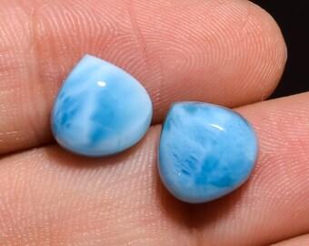 Natural Larimar Round Coin Shape Flat Gemstone Calibrated Cabochons Sky Blue Natural Larimar Cabochons Loose Gemstone 8mm  2 Pcs Set,