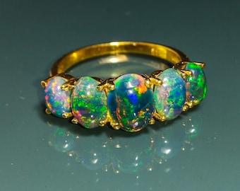 Black Opal Ring-18k Solid Gold Black Opal Ring-Promise Ring-Black Fire Opal Ring-Black Opal Gemstone Ring-14k Opal Ring-Opal Birthstone Ring