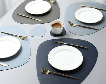 Irregaular Leather Placemat Easy Cleaning Waterproof Heat Insulation Non-Slip Placemat Smooth PU Leather Various Colours