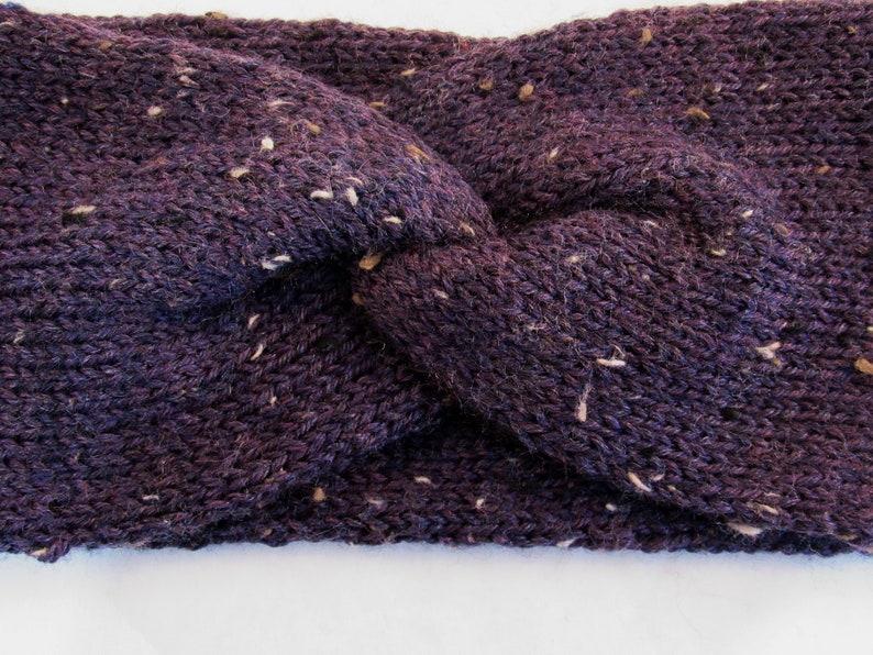 Wool Tweed Yarn Winter Accessories Women/'s Hand Knit Headband Teens Winter Fashion Twisted Head Band Dark Plum Purple Ear Warmer