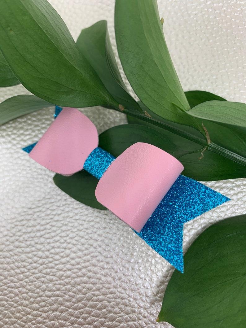 Mini bow Baluch pink /& glitter blue