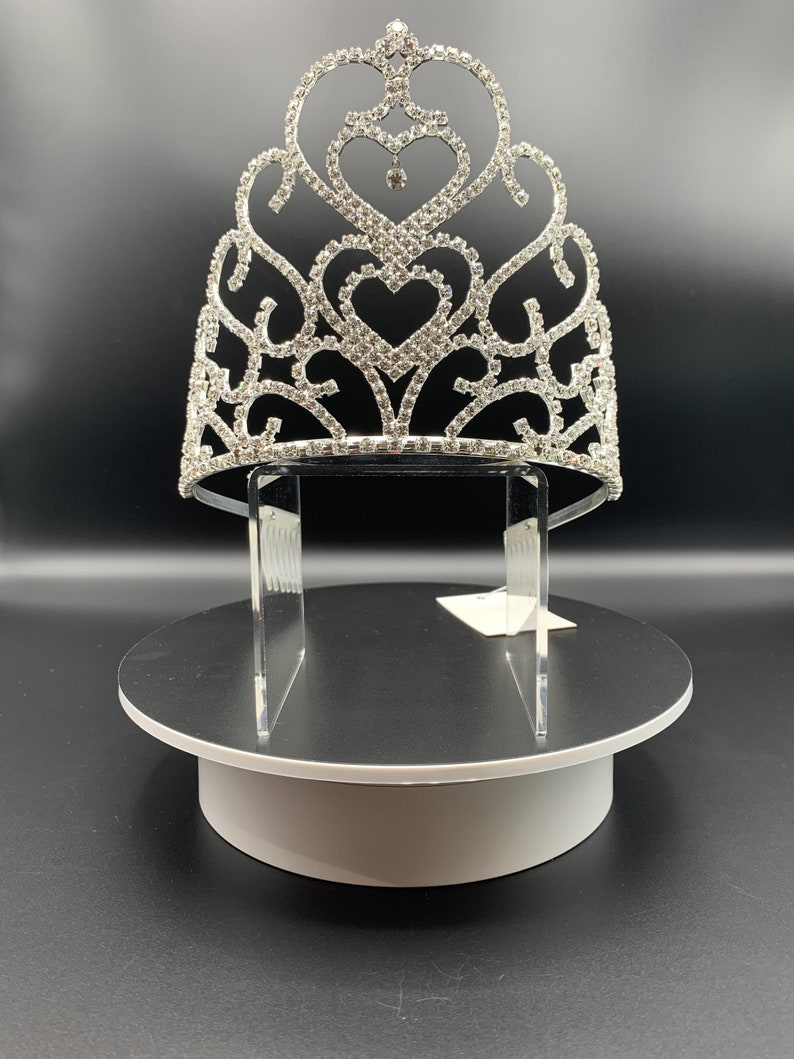 Sparkle big heart waves Tiara for Bridal Wedding and parties