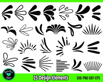 Silhouette or Cricut Cutfile DXF Hand-drawn Digital Download Glyphs PNG SVG Instant Download Ray Burst Accents Dingbats