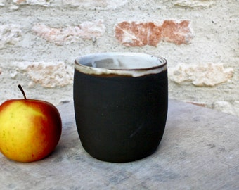 Black ceramic tea and coffee mug from France