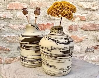 Ceramic bottle handmade in France white and brown