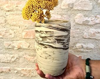 White and brown ceramic vase made in France