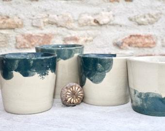 Handmade ceramic bleu cup, handleless kaki bleu coffe or tea mug, simple elegant unique design french pottery