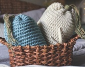 SET OF 2 Jumbo Blue and White Carrot Pillow | 17x7 inches | Easter Decor | Spring Pillow | Coastal | Chunky Knit | Burlap | Crochet
