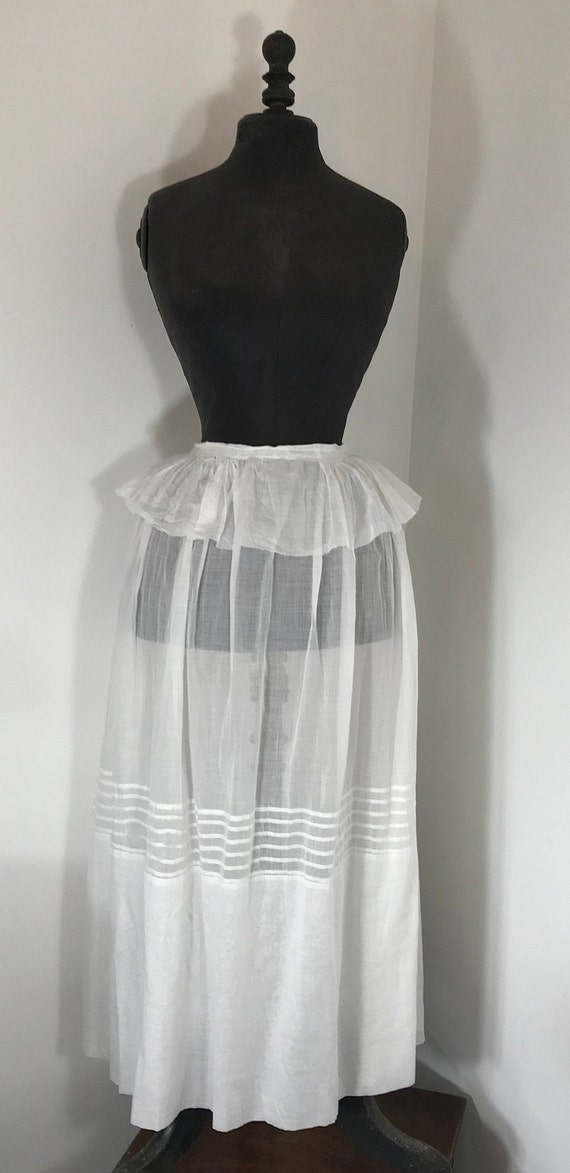 Vintage White Voile Petticoat.  Skirt With Peplum