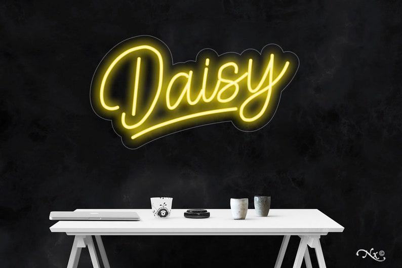Neon Sign Aesthetic TikTok Room Handmade Home Wall Decor Custom Streamer Game Room Retro LED Light Modern Daisy 13x24x1in