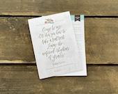 Matthew 11:28 Hand-Lettered Devotional Print for Moms (single, 5x7 print)