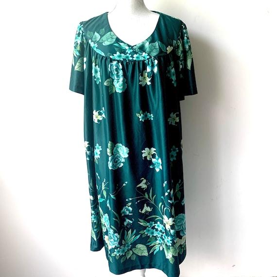 Vintage 1980's Emerald Green Tropicl Floral Mumu H