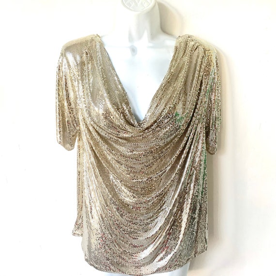 Vintage Whiting & Davis Silver Metal Mesh Disco Re