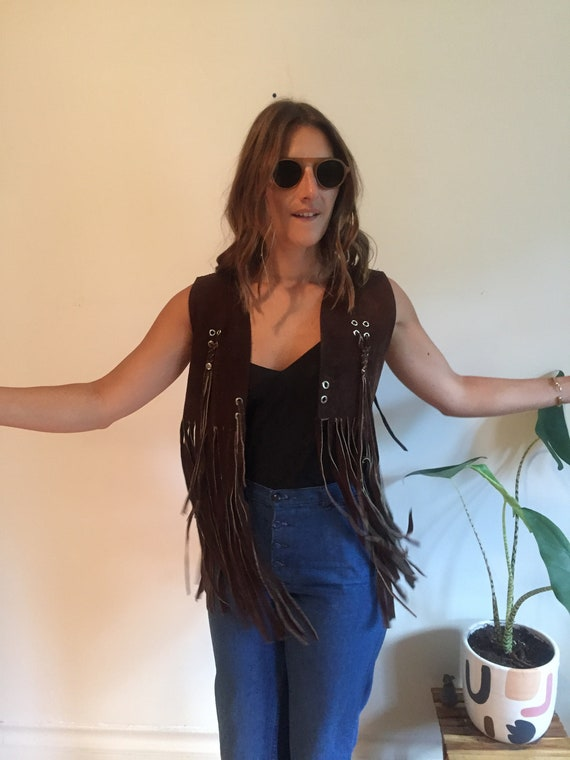 70s fringed brown suede vest - image 4