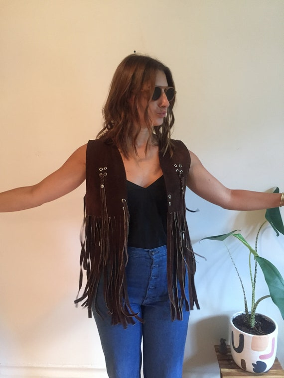 70s fringed brown suede vest - image 5