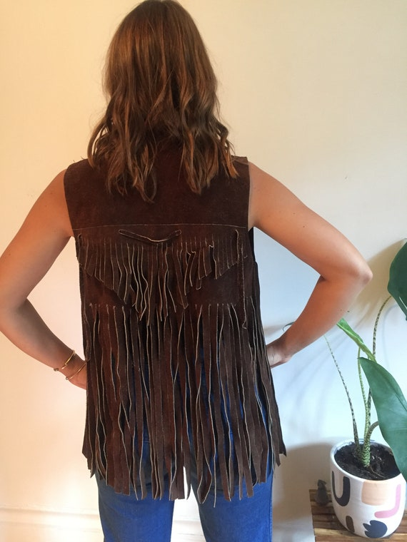 70s fringed brown suede vest - image 3