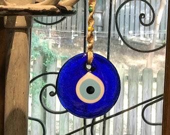 Blue Evil Eye Wall Hanging, Glass Evil Eye Good Luck Ornament, Macrame Wall Art, Spiritual Rustic Wall Decor